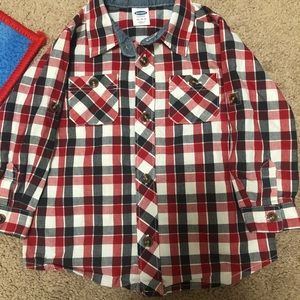 Red and navy plaid button down for infant